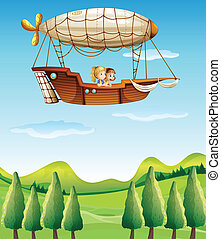 Two girls riding in an airship - Illustration of two girls...