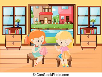 Two girls sewing cloth in room