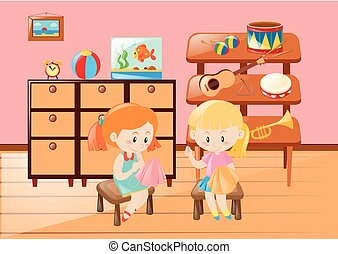 Two girls sewing cloth in the room