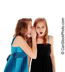 Two girls sharing secrets.