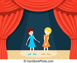 Two girls sing on stage with red backstage. Vector...