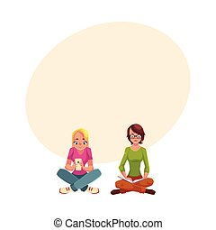 Two girls siting crossed legs, reading book, using mobile phone