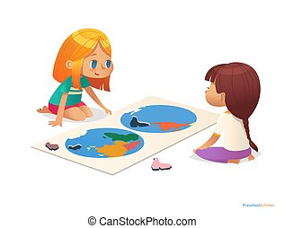 Two girls sitting on floor and trying to assemble world map puzzle. Educational activities for children. Learning through play concept. Vector illustration for poster, website, flyer, advertisement.