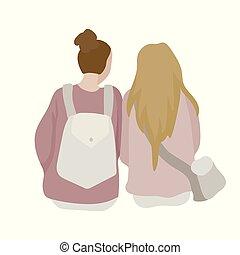 Two girls talk, sit next. Student girlfriends. Vector illustration