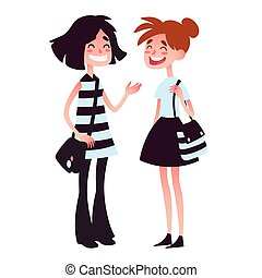 Two girls talking and laughing.