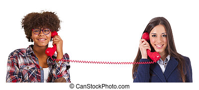 two girls talking on the phone