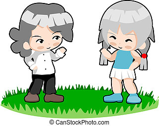 two girls vector