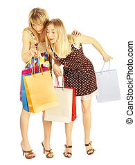 Two girls with bags.