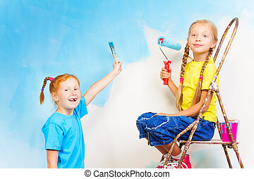 Two girls with brushes