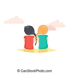 Two Girls with Closely Interwoven Braids. Vector