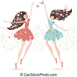 Two girls with flowers on her head