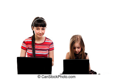 Two girls with laptops