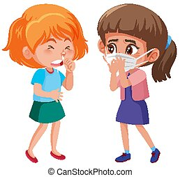 Two girls with runny nose on white background