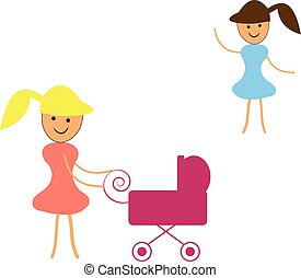 Two girls with stroller on white background