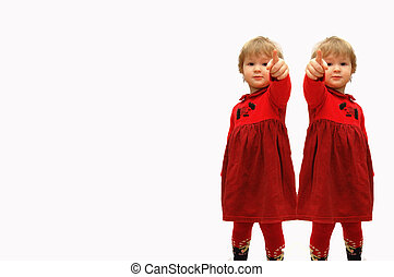 Two girls with the extended finger forward on a white background