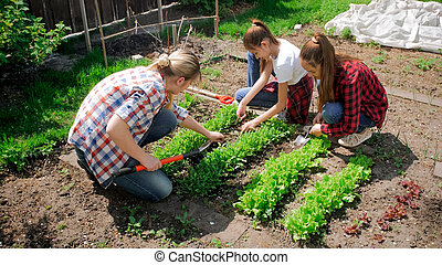 Two girls with young mother taking care of backyard garden