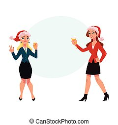 Two girls, women drinking champagne, dancing at corporate Christmas party