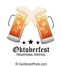 two glass beer oktoberfest graphic