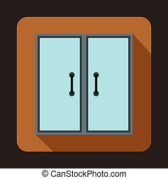 Two glass doors icon, flat style