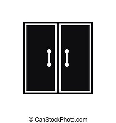 Two glass doors icon, simple style