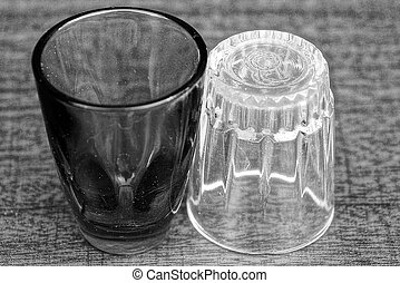 two glass empty glasses on the table