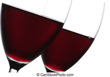 Two glass of red wine closeup