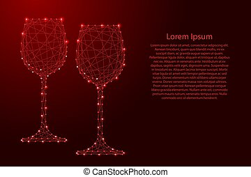 Two glass of wine from futuristic polygonal red lines and glowing stars for banner, poster, greeting card. Vector illustration.