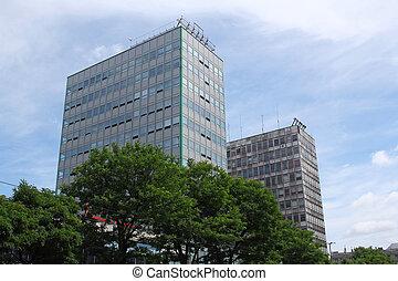 two glass office blocks in Poznan, Poland