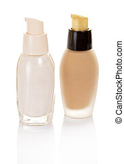 Two glass small bottles with basis for makeup