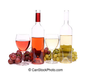 Two glass, two bottles of wine and grapes