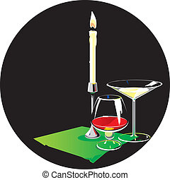 Two glasses and candle. Vector illustration.