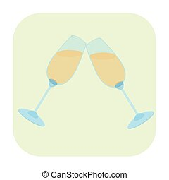 Two glasses cartoon icon