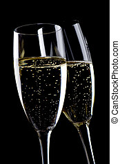 Two glasses champagne close up