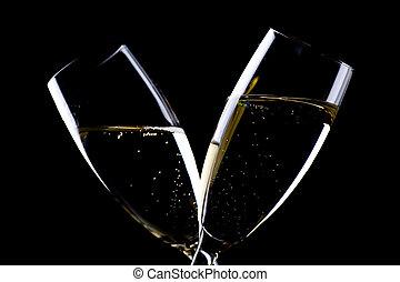 Two glasses champagne closeup