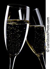 Two glasses champagne macro