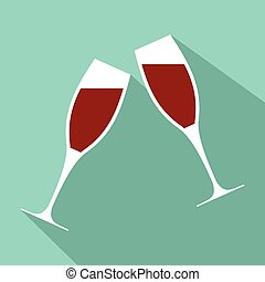 Two glasses flat icon