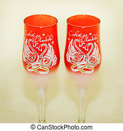 Two glasses for the newlyweds