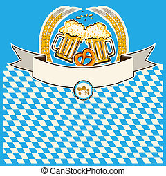 two glasses of beer on Bavaria flag background for text
