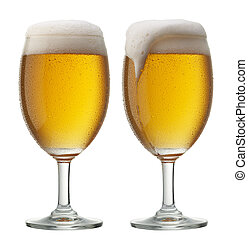 two glasses of beer, one of them is overflowing