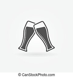Two glasses of Beer vector icon