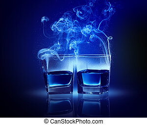 Two glasses of blue cocktail - Two glasses oC0 blue cocktail...