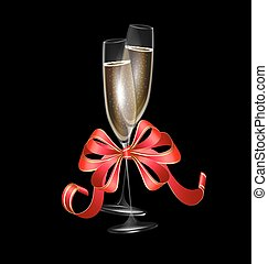 two glasses of champagne and red bow