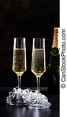 Two Glasses of Champagne Celebrating New Years