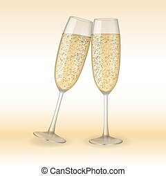 Two glasses of champagne. Holiday, Merry Christmas and Happy...