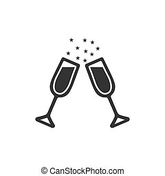 Two glasses of champagne icon flat