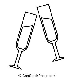 Two glasses of champagne icon, outline style