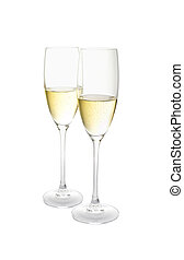 two glasses of champagne isolated on a white