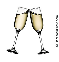 Two glasses of champagne isolated on white background