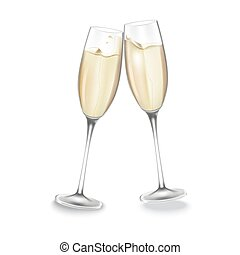 Two glasses of champagne. Merry Christmas and Happy New Year...