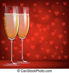 glasses of champagne - Two glasses of champagne on red...